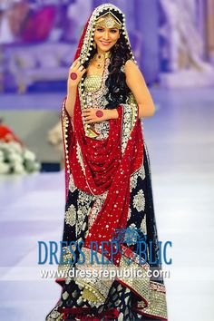 Black Saadi, Product code: DR9672, by www.dressrepublic.com - Keywords: Black Bridal Dress, Pakistani Black Designer DresS- PRICE DROP ON BEAUTIFUL INDIAN-WEDDING-DRESS $1614 +