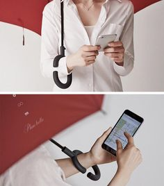 Phonebrella is an umbrella with a round C-shaped handle that sits on your wrist and frees both of your hands to text to your heart's content