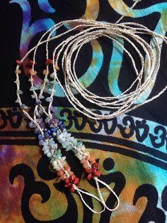 Chakra gemstone hemp BAREFOOT SANDALS rainbow by HappyHempCrafts