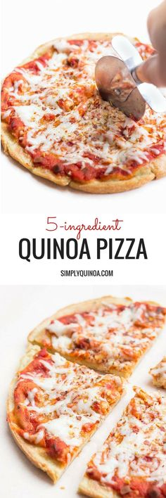 5-Ingredient Quinoa Pizza Crust -- the only gluten-free pizza you will ever need! The pizza crust is dairy-free - use your favorite dairy-free toppings (skip the goat cheese!) #healthy_recipes_pizza