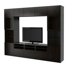 BESTÅ Agenc rangt télé/vitrines - Lappviken/Sindvik verre transparent brun noir, glissière tiroir, fermeture silence - IKEA