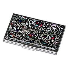 Amazon.com : Antique Alive Mother of Pearl Arabesque Design Black Business Credit Case Holder Metal Stainless Steel Engraved Slim Purse Pocket Cash Money Wallet (B124) : Office Products