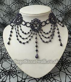 Purple Beaded Gothic Victorian Choker