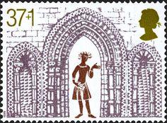 """Reino Unido - Royal Mail. Año: 1989. Tema: """"Triple arcada fachada oeste"""". Descripción: 800 aniversario de la Catedral de Ely (1189 - 1989), también denominada Iglesia Catedral de la Santa e Indivisa Trinidad de Ely. Es la iglesia principal de Ely en Cambridgeshire, Inglaterra, y la sede del obispado de Ely."""