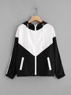 Shop Two Tone Striped Side Hooded Jacket online. SheIn offers Two Tone Striped Side Hooded Jacket & more to fit your fashionable needs. Outfits For Teens, Casual Outfits, Fashion Outfits, Sweater Jacket, Hooded Jacket, Hoodie Sweatshirts, Mode Hijab, Kawaii Fashion, Sport Coat