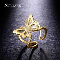 Find More Rings Information about NEWBARK Vivid Butterfly Ring Joyas With…