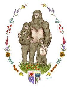 Sasquatch Family of Four art print by Ryan by berkleyillustration