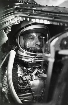 Alan Shepard waits to become the first American in space, Cape Canaveral, 1961, photograph by NASA.