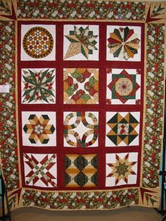 Use any sampler quilt with reds, greens golds, white.