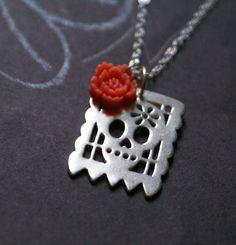 One Little Skull Papel Picado necklace in sterling silver. Lauren Mojica, via Etsy.