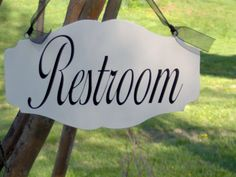 Restroom is a great bathroom accent sign Also a great way to help your guest s find the powder room The curves and scrolls of the wood and vinyl give Vinyl Doors, Wood Vinyl, Shabby Cottage, Cottage Chic, Bathroom Signs, Bathroom Doors, Christmas Chair, Baby Door Hangers, Wood Guest Book