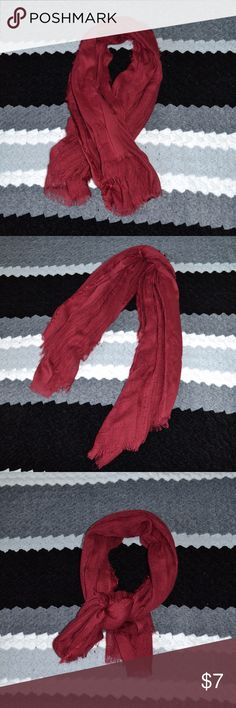 Red Charlotte Russe scarf This scarf is beautiful & slightly fringed. It's a shorter scarf....measures 43 inches in length....perfect for adding a splash of color!! Charlotte Russe Accessories Scarves & Wraps