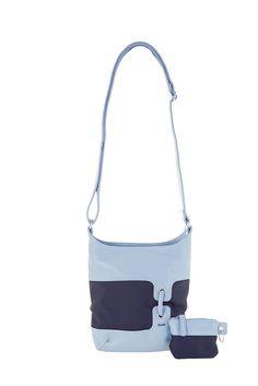 Frauentaschen :: BONJOUR :: B8   ZWEI Taschen Handtasche :: Nylon :: Materialmix ::  blau