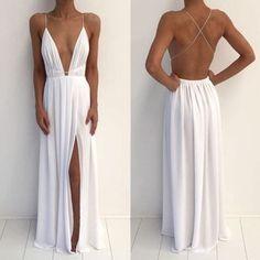 Sexy Deep V-Neck Spaghetti White Chiffon Side Slit Long Prom Dresses, BG0223