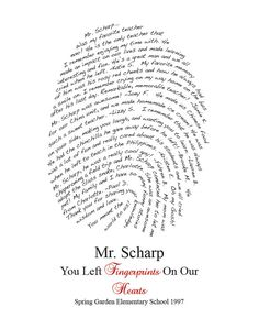 Teacher Gift Fingerprint Design Personalized for by myloveydove School Gifts, Graduation Gifts, Teacher Retirement Parties, Personalized Teacher Gifts, Presents For Teachers, Teacher Appreciation Week, Class Teacher, School Projects, Diy Projects