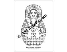 Bahia Brazilian Matryoshka Coloring sheet PDF by AmyPerrotti