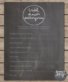 This printable Scattergories game is perfect for any Bridal Shower or Wedding. Keep guests entertained while watching a bride open gifts at a shower, or during a cocktail hour at a reception! Purchase includes an 8.5x11 printable PDF version of the Scattergories game in the Chalkboard template. Game will be available for instant download after purchase and can be printed on plain computer paper or card stock.  Purchase the entire suite of 4 games and save $5! Suite available here…