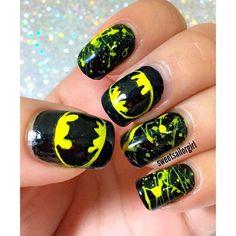 Designer Clothes, Shoes & Bags for Women Batman Nail Designs, Batman Nail Art, Superhero Nails, Cute Nail Designs, Acrylic Nail Designs, Batwoman, Cute Nails, Pretty Nails, Marvel Nails