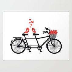 Cute birds on tandem biccyle, Valentine's day card, wedding invitation, art print, wall art