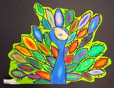 peacock with oil pastel