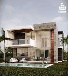 Modern House Design Ideas 2019 - Another! Modern Architecture House, Modern House Design, Interior Architecture, Modern Exterior, Exterior Design, House Elevation, Villa Design, House Goals, Future House