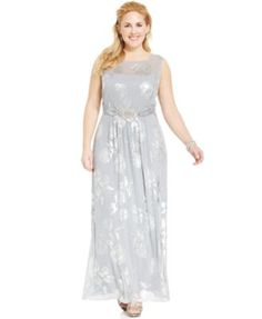 d40f9aedea695 MSK Plus Size Metallic Floral-Print Gown Floral Print Gowns
