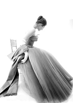Fiona Campbell wearing a Hardy Amies gown, 1953.
