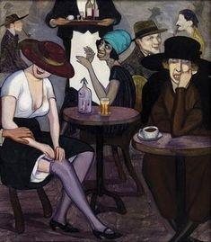 """ Artists' coffee house in Paris ""(by Shalva Kikodze / 1920 )"