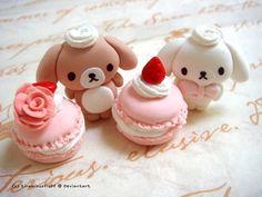 Macaron et lapins kawaii