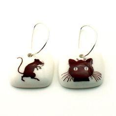 Cat Mouse Earrings Porcelain Pet Animal  Handmade by MonaLina, €19.50