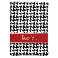 Preppy Red and Black Houndstooth Personalized iPad Air Cover