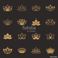 Vector: Lotus symbol icons. Vector floral labels for Wellness industry