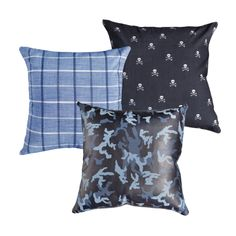 8 Cheap Things to Maximize a Small Bedroom Luxe leather Camo organic cotton Skull and rich woven plaid. A swoon-worthy combo! Blue Camo, Blue Plaid, Skull Pillow, Leather Pillow, Blue Pillows, Minimalist Home, Decorative Pillows, Organic Cotton, Pillow Covers