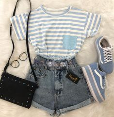 Outfits, girl outfits, cute summer outfits, cute summer shirts, outfits for Teen Fashion Outfits, Girly Outfits, Short Outfits, Cute Fashion, Outfits For Teens, Vintage Outfits, High Fashion, Fashion Fashion, Blue Outfits