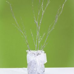 Silver Glitter Twigs 24in 4ct