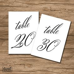 Classic Table Numbers 1-30, Printable Table Numbers, Rustic Wedding 5x7 Table Numbers - INSTANT DOWNLOAD - elegant calligraphy - Charlotte by DIVart on Etsy