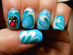 Pool Party Water Marble Nails