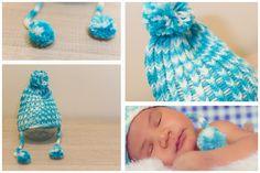 gorro, grande, azul, branco, pompom, cordões laterais, recém-nascido (newborn), são paulo