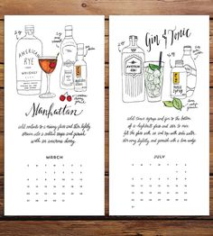 Mix and sip your way through 2016 with this boozy calendar, each month featuring a different classic cocktail. The ingredients required to craft every drink are illustrated by hand, and the instructions to prepare it are lettered below in handwritten text. Since each month is printed on a separate page, just trim off the dates for a framable piece of art.