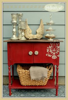 rescued cabinet turned red diva, diy, home improvement, kitchen cabinets, paint colors, painted furniture