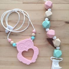 Pacifier clips and teethers! Necklaces and custom designs by lulu and Lettie #etsyshop #babymusthave #newmum #newmom #newborns #etsybaby #toddlerlife #luluandlettie #chewbeads #siliconebeads #teething #nursing
