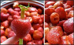 Strawberries can be hulled using a regular drinking straw.