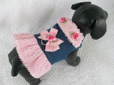 Blue Jean & Chenille  Dog Harness with Ruffled   and Collar Custom Made  Vest  for Dog or Cat Outfit