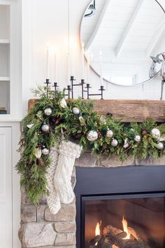 Silver and great Christmas home decor fireplace decor Silver and Grey Classic Christmas Tour - The Lilypad Cottage Diy Christmas Fireplace, Christmas Mantels, Christmas Holidays, Christmas Crafts, Elegant Christmas, Fireplace Mantel, Fireplaces, Cottage Christmas, Christmas Vacation