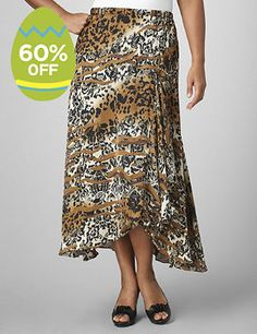 Satin charmeuse skirt in a unique print that combines animal motifs with ombre shading. Asymmetrical silhouette with cascading, ruffled-tiered front. Pull-on elastic waist. Lined. To provide a stylish and comfortable fit, Catherines plus size skirts are made specifically for a fuller figure.  catherines.com