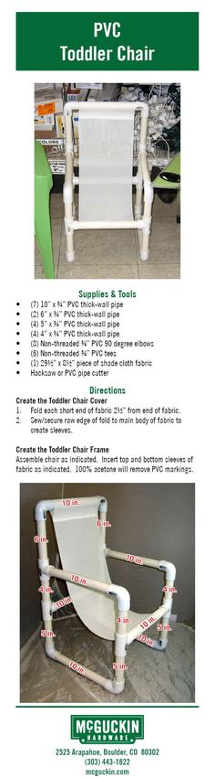 Make your own PVC Toddler Chair using simple items found in a hardware store!  www.mcguckin.com
