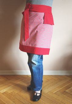 Rotweiße Vichykaro Kochschürze Halbschürze, Apron
