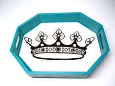 Aqua Octagon Tray  Show MOM she's the Queen of by OutofChaosDesign, $16.00