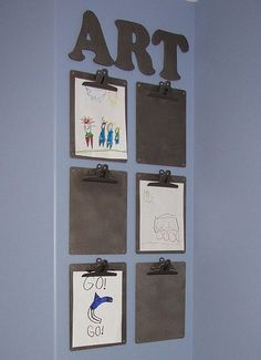 Great way to display kids artwork! Fast and easy to change out!  Can also hang in craft room as an alternative to putting everything on a bulletin board.  Could hang my ideas, drawings, etc. on these  change out things quickly  easily.