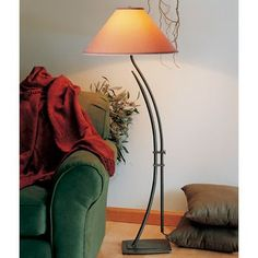 "Hubbardton Forge Metamorphic 54"" Floor Lamp Finish: Bronze, Shade Color: Natural Anna, Shade Type: Drum"
